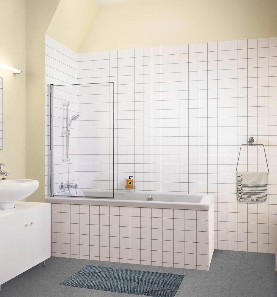Voor: staand douchen in een gladde badkuip. Een erg lastige in- en uitstap.
